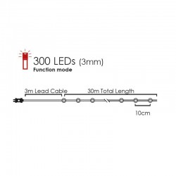 Fairy Lights 300 LED Power Lights, Silver Copper Cable And 8 Programs, Warm White 30m+3m 7,2W IP44 - ACA Christmas