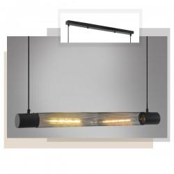 Κρεμαστό Φωτιστικό Οροφής Μαύρο Μεταλλικό Δίφωτο 2x E27 ALCATRAZ - ACA Decor