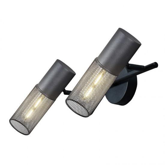 Σποτ Επίτοιχο - Οροφής Μαύρο Μεταλλικό Δίφωτο 2x E27 ALCATRAZ - ACA Decor