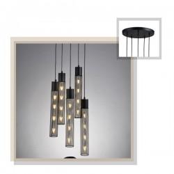 Κρεμαστό Φωτιστικό Οροφής Μαύρο Μεταλλικό Πεντάφωτο 5x E27 ALCATRAZ - ACA Decor