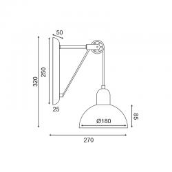 Επίτοιχο Φωτιστικό Μεταλλικό Σε Γκρι - Λευκό Χρώμα 1x E14 CEZANNE - ACA Decor