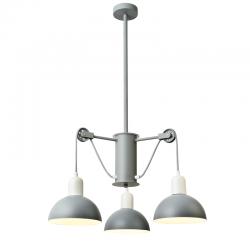 Κρεμαστό Φωτιστικό Τρίφωτο Μεταλλικό Σε Γκρι - Λευκό Χρώμα 3X E14 CEZANNE - ACA DECOR