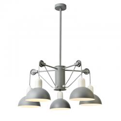 Κρεμαστό Φωτιστικό Πεντάφωτο Μεταλλικό Σε Γκρι - Λευκό Χρώμα 5X E14 CEZANNE - ACA DECOR