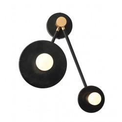 Φωτιστικό Τοίχου Από Μέταλλο Και Μάρμαρο Μαύρο 2x E27 CLOCK - ACA Decor