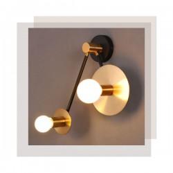 Φωτιστικό Τοίχου Μεταλλικό Ορειχάλκινο Και Μαύρο Χρώμα 2x E27 CLOCK - ACA Decor