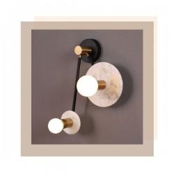 Φωτιστικό Τοίχου Από Μέταλλο Και Μάρμαρο Λευκό 2x E27 CLOCK - ACA Decor
