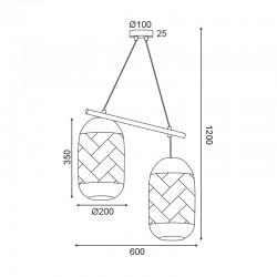 Κρεμαστό Φωτιστικό Δίφωτο Από Ρατάν Λευκό 2xE27 COCONUT - ACA Decor