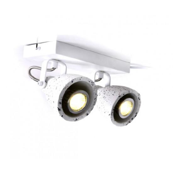 Σποτ Επίτοιχο - Οροφής Δίφωτο Λευκό Terazzo 2XGU10 DINO - ACA Decor
