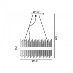 Κρεμαστό Φωτιστικό Οροφής Πολύφωτο Με Κρύσταλλα 12x G9 DYNASTY - ACA Decor