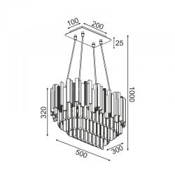 Κρεμαστό Φωτιστικό Οροφής Με Κρύσταλλα Τετράφωτο 4x E14 EMPIRE - ACA Decor