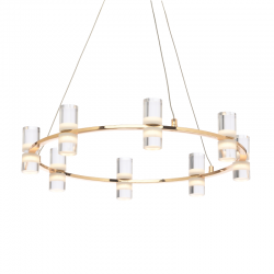 LED Aluminum Pendant Light In Gold ø52cm 32W IONIAN - ACA Decor