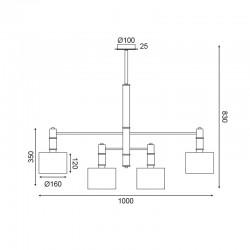 Κρεμαστό Φωτιστικό Μεταλλικό Σε Χρυσό - Μαύρο Χρώμα Και Λευκά Καπέλα 4x E14 MIZAR - ACA Decor