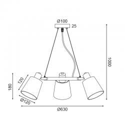 Κρεμαστό Φωτιστικό Τρίφωτο Μεταλλικό Με Ύφασμα Μαύρο 3x E14 NORMA - ACA DECOR