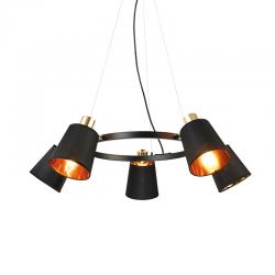 Κρεμαστό Φωτιστικό Πεντάφωτο Μεταλλικό Με Ύφασμα Μαύρο 5x E14 NORMA - ACA DECOR