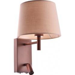 Απλίκα Μεταλλική Με Υφασμάτινο Καπέλο Και LED Φωτάκι 3W 1x E27 ACA DECOR