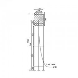 Φωτιστικό Δαπέδου Από Μέταλλο Και Μπαμπού Ø23cm 1xE27 SAHARA - ACA Decor