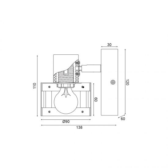 Σποτ Επίτοιχο - Οροφής Μονόφωτο Λευκό Με Ξύλο 1xE14 TALOS - ACA Decor