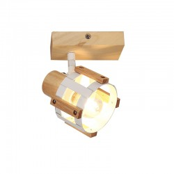 Ceiling - Wall Spot Light White Metallic With Wood 1xE14 TALOS - ACA Decor