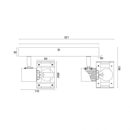 Σποτ Επίτοιχο - Οροφής Δίφωτο Λευκό Με Ξύλο 2xE14 TALOS - ACA Decor