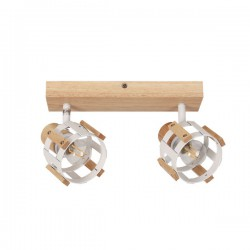 Ceiling - Wall Spot Light White Metallic With Wood 2xE14 TALOS - ACA Decor