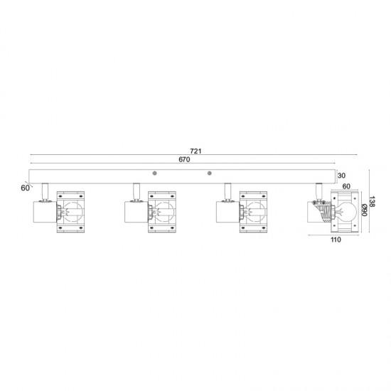 Σποτ Επίτοιχο - Οροφής Τετράφωτο Λευκό Με Ξύλο 4xE14 TALOS - ACA Decor