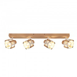 Ceiling - Wall Spot Light White Metallic With Wood 4xE14 TALOS - ACA Decor