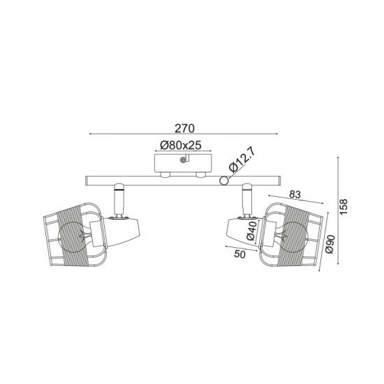Σποτ Επίτοιχο - Οροφής Δίφωτο Λευκό Με Ραττάν 2xE14 ZORBAS - ACA Decor
