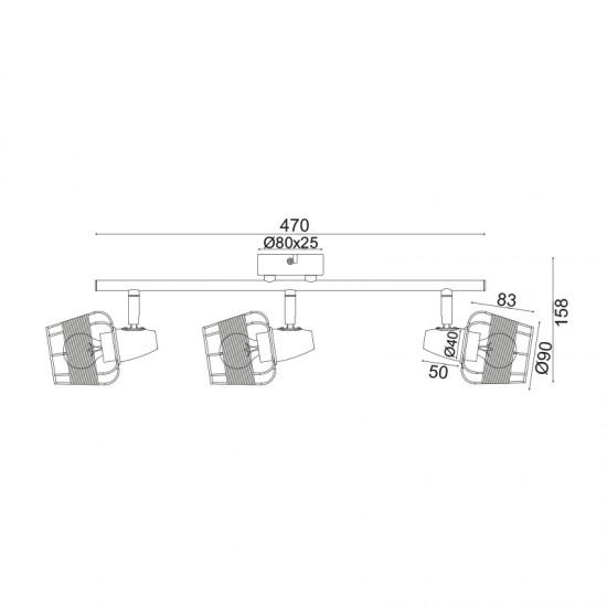 Σποτ Επίτοιχο - Οροφής Τρίφωτο Λευκό Με Ραττάν 3xE14 ZORBAS - ACA Decor