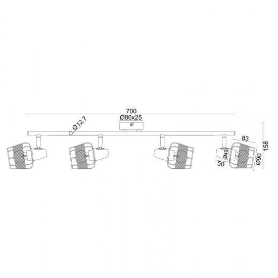 Σποτ Επίτοιχο - Οροφής Τετράφωτο Λευκό Με Ραττάν 4xE14 ZORBAS - ACA Decor