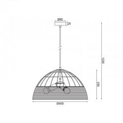 Κρεμαστό Φωτιστικό Μονόφωτο Από Ραττάν Ø46cm 3xE27 ZORBAS - ACA Decor