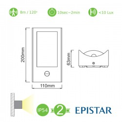 LED EPISTAR Απλίκα Εξωτερικού Χώρου Σε Σκούρο Γκρι Με Αισθητήρα Κίνησης 7W IP54 MIRANDE - ACA