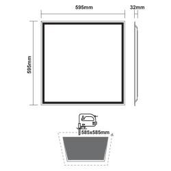 Slim Panel White Square 60x60 LED SMD 40W 120° OTIS Aca