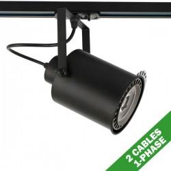 Φωτιστικό Σποτ Ράγας Μονοφασικό 2 Καλωδίων Σε Μαύρο Χρώμα 1x E27 PAR 30 - ACA