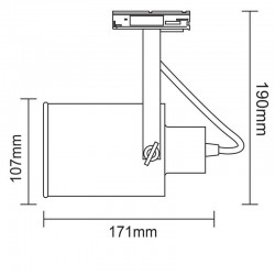 Φωτιστικό Σποτ Ράγας Μονοφασικό 2 Καλωδίων Σε White Gold Brushed 1x E27 PAR 30 - ACA