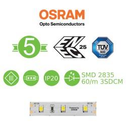 5 Μέτρα LED Ταινία 12W 12V DC IP20 Με OSRAM Chip - ACA