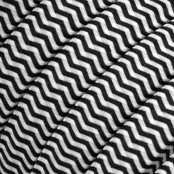 Πλακέ Υφασμάτινο Καλώδιο για Γιρλάντα Creative Cables - Ψαροκόκαλο Μαύρο - Λευκό CZ04