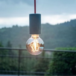 Pendant Outdoor Light EIVA ELEGANT with 1,5m Fabric Cable, Silicone Rosette And Waterproof Lampholder IP65- Creative Cables