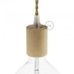 Ντουί Ξύλινο Ε27, Με Στήριγμα Καλωδίου - Creative Cables