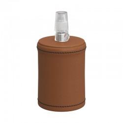 Ντουί Ξύλινο Ε27 Καλυμμένο Με Δέρμα, Καφέ - Creative Cables