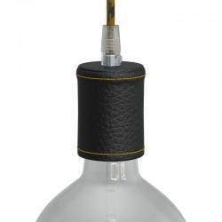 Ντουί Ξύλινο Ε27 Καλυμμένο Με Δέρμα, Μαύρο- Creative Cables