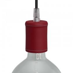 Ντουί Ξύλινο Ε27 Καλυμμένο Με Δέρμα, Κόκκινο- Creative Cables