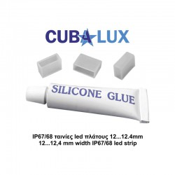 3 Terminal Caps + Silicone For LED Strips IP67 / 68 Width 12.4mm - CUBALUX