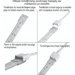 Κονέκτορας Ενδιάμεσος Με Καλώδιο IP67 Μονόχρωμων Ταινιών LED Πλάτους 10mm 3-48Vdc - CUBALUX
