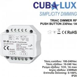 Triac Dimmer Simplicity RF - Push Button 230 Vac 1A - Cubalux