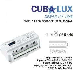 DMX 512 & RDM Αποκωδικοποιητής 12 x 5 A 12/36 Vdc - Cubalux