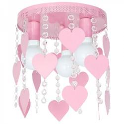 Παιδικό Φωτιστικό Οροφής Μεταλλικό Ροζ Με Καρδούλες Και Κρύσταλλα CORAZON 3xE27 - MiLagro