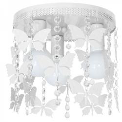 Παιδικό Φωτιστικό Οροφής Μεταλλικό Λευκό Με Πεταλούδες Και Κρύσταλλα 3x E27 ANGELICA - MiLagro