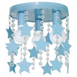 Παιδικό Φωτιστικό Οροφής STAR 3-φωτο Γαλάζιο με Αστέρια και Κρύσταλλα 3x E27 60W - MiLagro