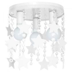 Παιδικό Φωτιστικό Οροφής STAR 3-φωτο Λευκό με Αστέρια και Κρύσταλλα 3x E27 60W Elza - MiLagro