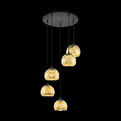 Black - Gold Pendant Multi Lights Ø58,5cm 5x40W E27 ALBARACCIN Eglo